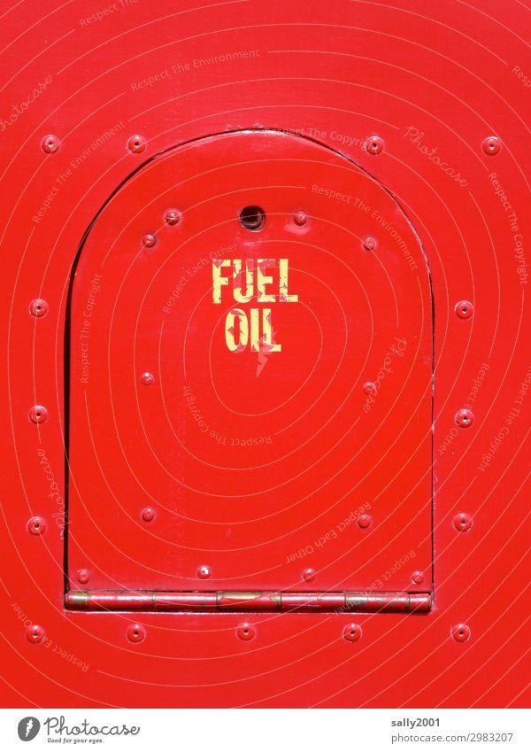 Kraftstoffklappe... Verkehrsmittel Bus Reisebus Oldtimer Klappe Tankdeckel Metall Schilder & Markierungen Hinweisschild Warnschild alt Originalität rund rot