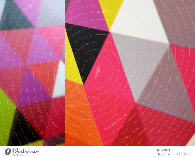 Ecken und Kanten... Kunst Ornament ästhetisch eckig mehrfarbig Dreieck Muster Karton graphisch Design Geometrie Farbfoto Menschenleer