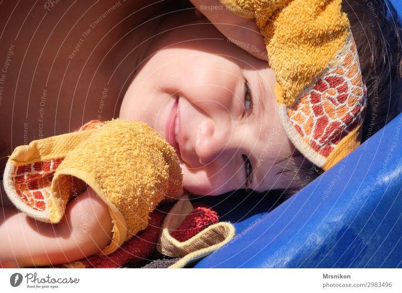 Badezeit Freude Freizeit & Hobby Spielen Sommer Sommerurlaub Sonne Sonnenbad Strand Meer Mensch Kleinkind Junge Kindheit Kopf 1 3-8 Jahre Lächeln leuchten