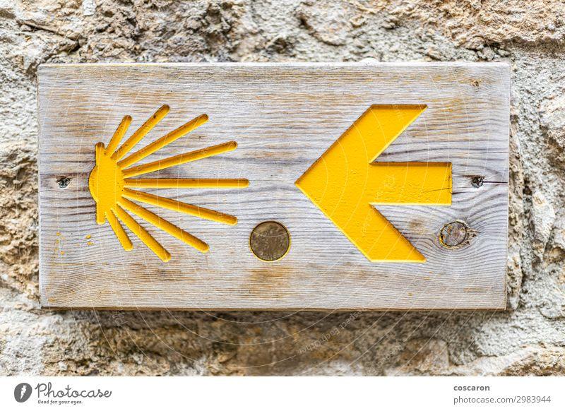 Camino de Santiago Schild an einer Wand Ferien & Urlaub & Reisen Tourismus Ausflug wandern Natur Fahrradfahren Fußgänger Straße Wege & Pfade Verkehrszeichen