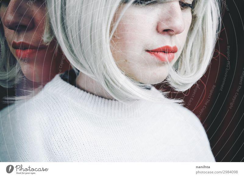Künstlerisches und konzeptionelles Bild über Persönlichkeitsstörungen Behandlung Medikament Spiegel Mensch feminin Frau Erwachsene 1 30-45 Jahre Kunst blond