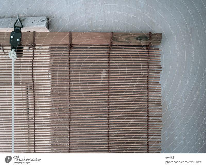 Am Haken Mauer Wand Fenster Sichtschutz Lamellenjalousie Seil Öse Holz Metall hängen einfach fest Schutz Sicherheit leicht Farbfoto Innenaufnahme Detailaufnahme