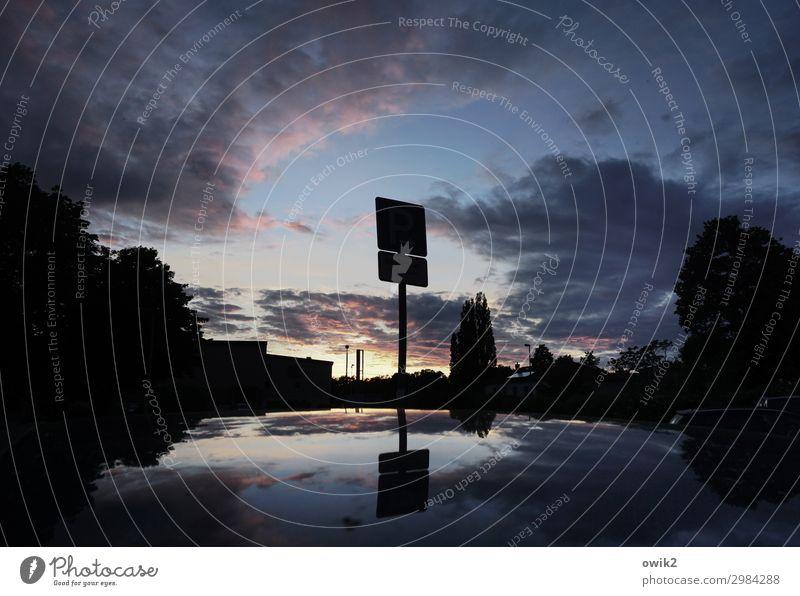 Bis morgen Umwelt Natur Himmel Wolken Schönes Wetter Baum Glas Metall Schilder & Markierungen Hinweisschild Warnschild Verkehrszeichen dunkel ruhig Autodach