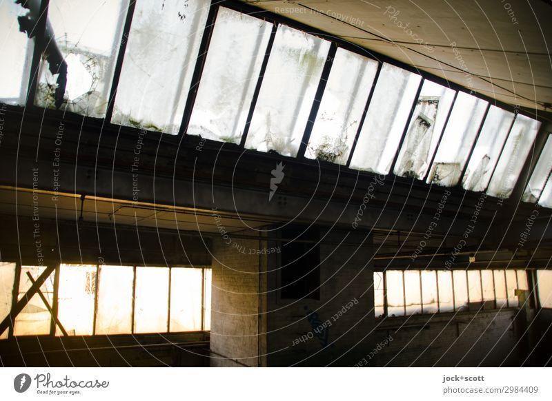 Nachhall in Halle Brandenburg Ruine Dach Säule Fensterfront authentisch dunkel eckig groß lang retro Stimmung Ordnung Stil Symmetrie Verfall Vergänglichkeit