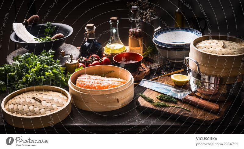 Asiatische Küche Lebensmittel Fisch Gemüse Kräuter & Gewürze Ernährung Bioprodukte Diät Geschirr Stil Design Gesunde Ernährung Restaurant asian food