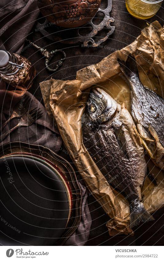 Gebratene Dorado Fische Lebensmittel Ernährung Mittagessen Bioprodukte Vegetarische Ernährung Diät Geschirr Design Gesunde Ernährung Häusliches Leben Restaurant