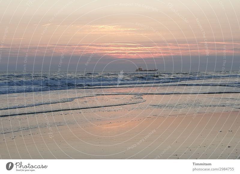 Sonnenuntergang Ferien & Urlaub & Reisen Umwelt Natur Urelemente Sand Wasser Himmel Wolken Nachthimmel Sonnenaufgang Schönes Wetter Wellen Strand Nordsee