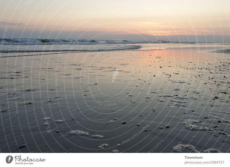 Ganz leiser Sonnenuntergang Ferien & Urlaub & Reisen Umwelt Natur Urelemente Sand Wasser Himmel Wolken Nachthimmel Sonnenaufgang Schönes Wetter Wellen Strand