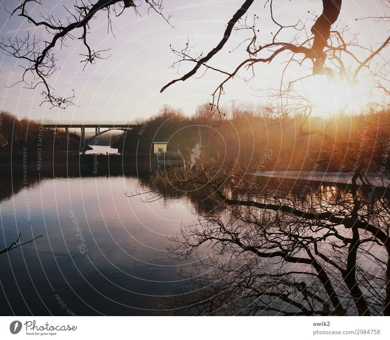 Am Vorstau Natur Pflanze Wasser Landschaft Sonne Baum ruhig Winter Ferne Holz Umwelt Deutschland See hell Horizont Metall