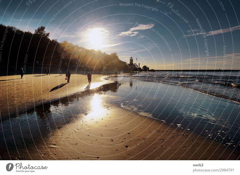 Laufsteg Umwelt Natur Landschaft Wasser Himmel Wolken Horizont Sonne Herbst Klima Schönes Wetter Baum Küste Strand Ostsee Sand Kolobrzeg Polen Osteuropa