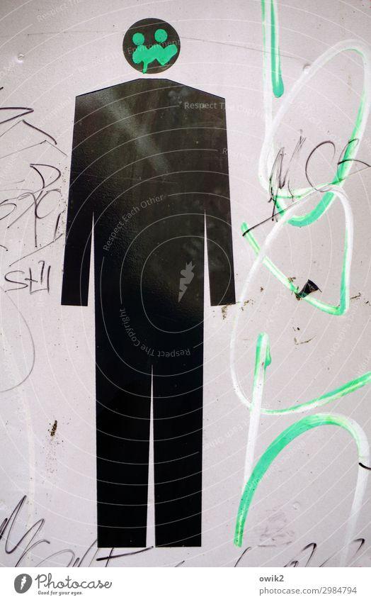 Einzelkämpfer Mann Erwachsene 1 Mensch Polen Piktogramm Metall Zeichen Hinweisschild Warnschild Verkehrszeichen stehen eckig einfach einzigartig vertikal
