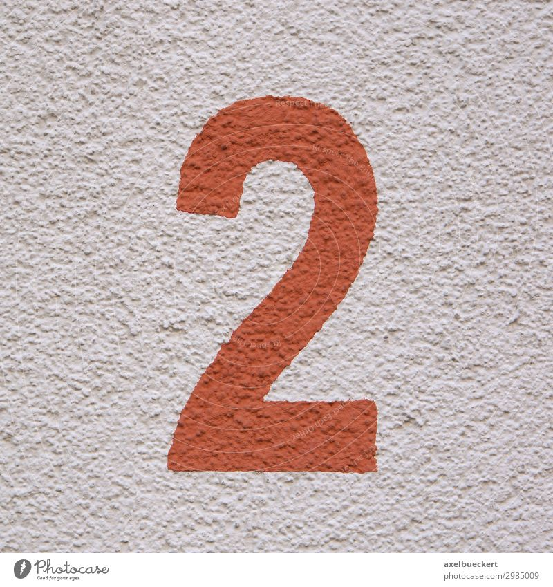 rote Zahl 2 - Hausnummer zwei Farbe Wand Mauer Fassade Design Ziffern & Zahlen Symbole & Metaphern Quadrat