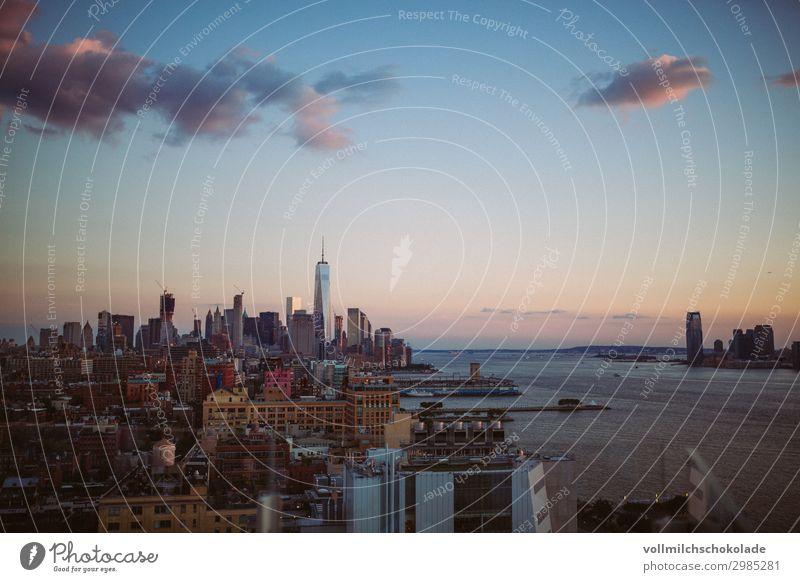 Skyline New York Stadt Hauptstadt Stadtzentrum Hochhaus Gebäude Architektur Sehenswürdigkeit Zufriedenheit Farbfoto Außenaufnahme Luftaufnahme Menschenleer