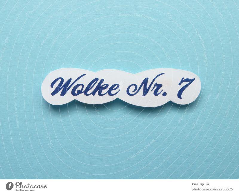 Wolke Nr. 7 Schriftzeichen Schilder & Markierungen fliegen Kommunizieren Liebe Zusammensein Glück oben blau weiß Gefühle Stimmung Zufriedenheit Lebensfreude