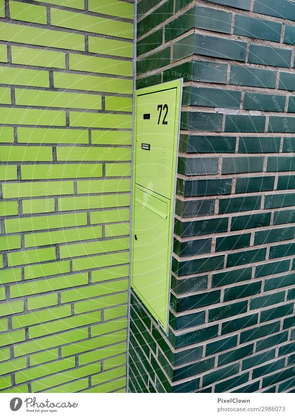 Briefkasten elegant Stil Häusliches Leben Wohnung Haus Baustelle Stadt Bauwerk Gebäude Architektur Mauer Wand Fassade Tür Namensschild Klingel Stein Beton grün