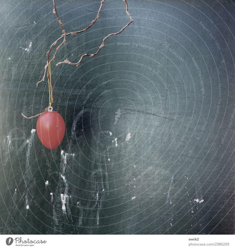 Sparsame Ostern Osterei Schnur Zweig Dekoration & Verzierung Tafel Kritzelei Kunststoff hängen rund rot Einsamkeit vergessen Feiertag Farbfoto Außenaufnahme