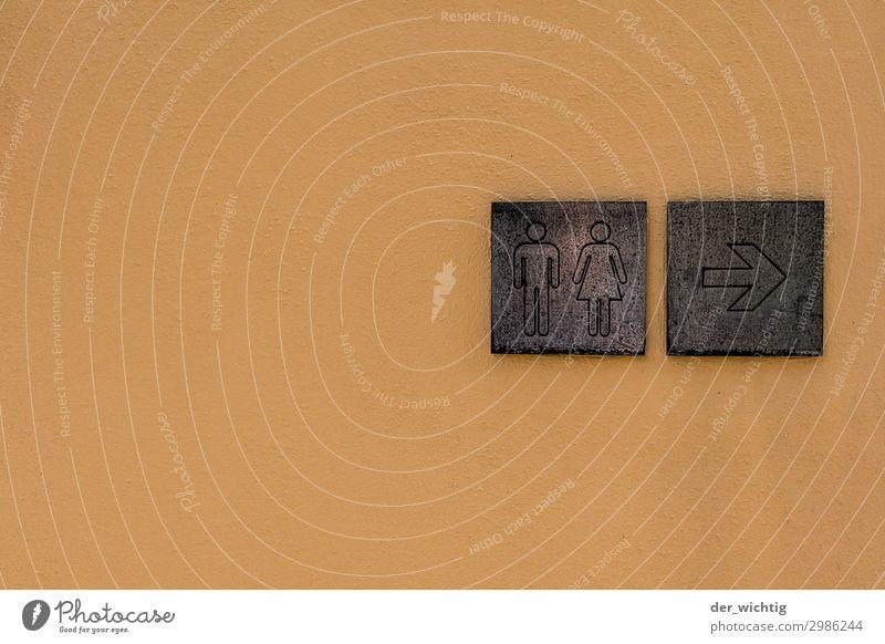Wegweiser Zeichen Schilder & Markierungen Hinweisschild Warnschild Pfeil Toilette braun orange Information Farbfoto Außenaufnahme Detailaufnahme Menschenleer