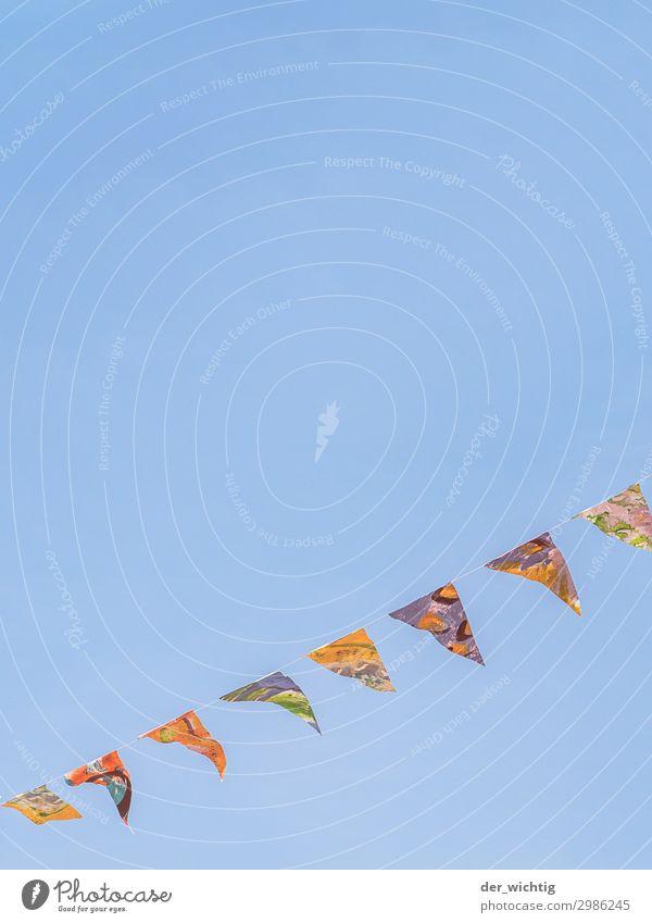 8 Wimpel Himmel Sommer blau Dekoration & Verzierung Schönes Wetter Zeichen Fahne Wolkenloser Himmel verschönern