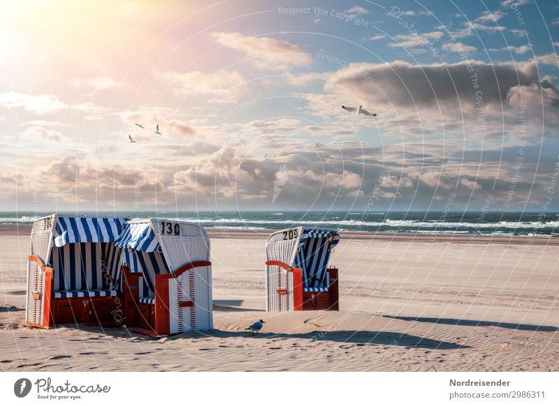 Strandkörbe an der Nordsee Himmel Ferien & Urlaub & Reisen Sommer Wasser Sonne Meer Erholung Wolken Leben Tourismus Sand Wellen Idylle Schönes Wetter