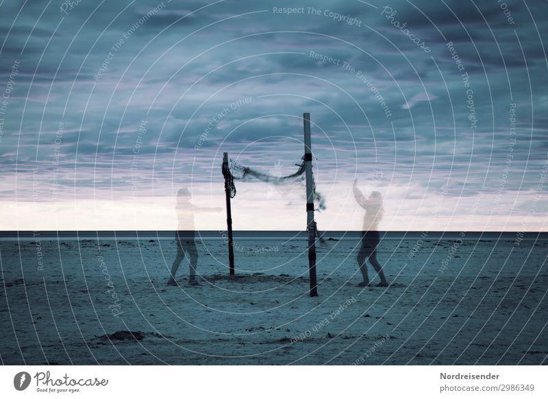 Spiel der Geister Strand Mensch 2 Himmel Wolken Meer Spielen Sport außergewöhnlich Zusammensein verrückt bizarr Ewigkeit geheimnisvoll skurril Stimmung