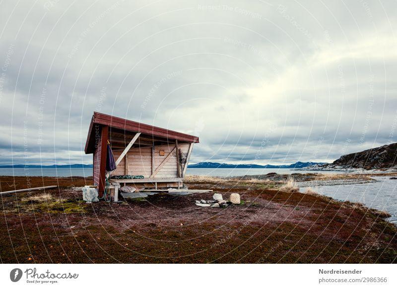 Barentssee Ferien & Urlaub & Reisen Wasser Meer Wolken Einsamkeit Berge u. Gebirge Küste Gras Gebäude Freiheit Ausflug wandern Urelemente Fernweh Hütte Moos
