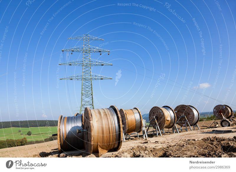Netzausbau Stadt Arbeit & Erwerbstätigkeit Metall Feld Energiewirtschaft Technik & Technologie Telekommunikation Schönes Wetter Zukunft Industrie Baustelle