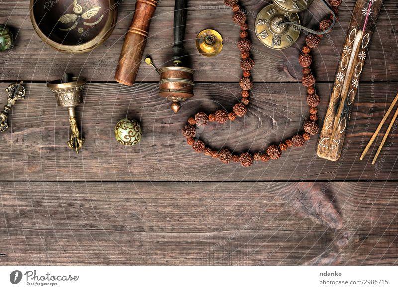 Tibetische religiöse Objekte Lifestyle Gesundheitswesen Behandlung Alternativmedizin Medikament Meditation Massage Tisch Yoga Werkzeug Stein Holz alt oben retro