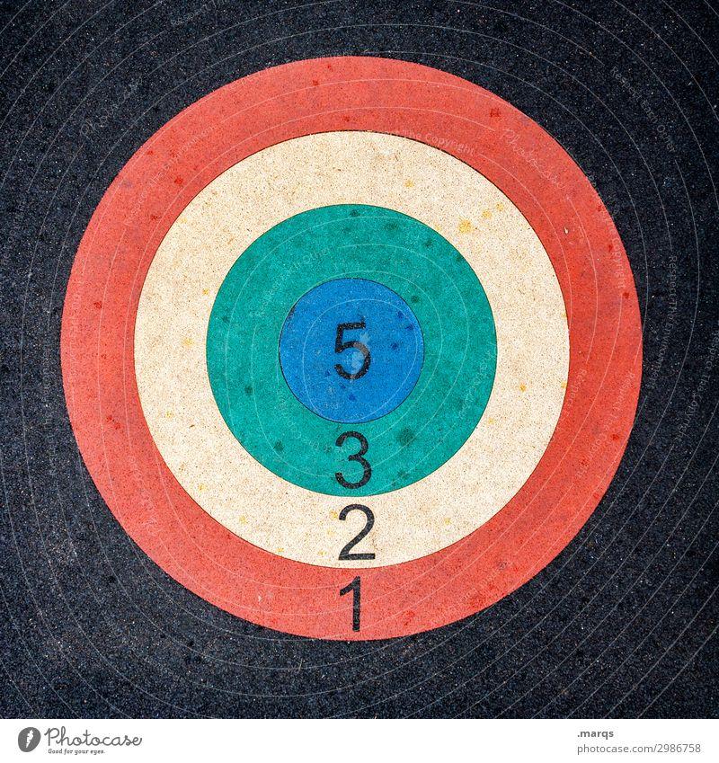Das Ziel vor Augen Erfolg Bogensport Sportveranstaltung Kreis Ziffern & Zahlen blau gelb grün rot schwarz silber Sardinien 5 3 2 1 Farbfoto