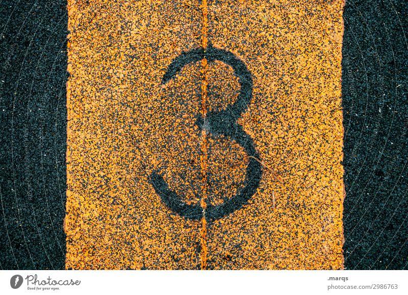 3 Erfolg Sportstätten Sportveranstaltung Kunststoff Ziffern & Zahlen authentisch orange schwarz zählen Farbfoto Außenaufnahme Nahaufnahme Strukturen & Formen