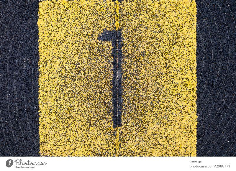 1 Erfolg Sportstätten Sportveranstaltung Kunststoff Ziffern & Zahlen authentisch gelb schwarz erste zählen Farbfoto Außenaufnahme Nahaufnahme