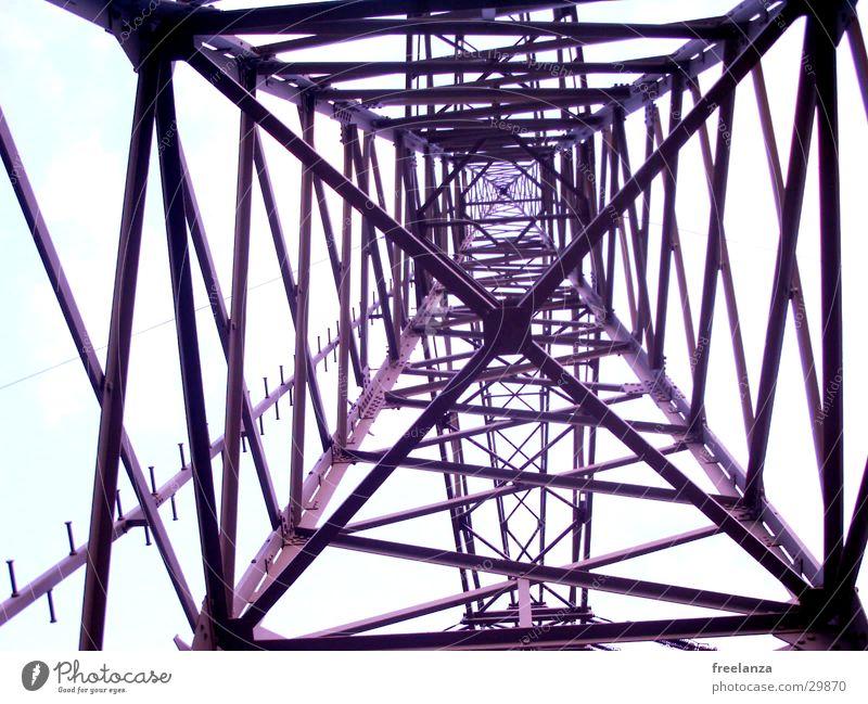Strom hoch Industrie Energiewirtschaft Elektrizität Stahl Baugerüst Hochspannungsleitung
