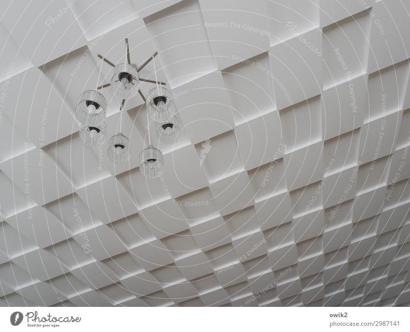Sachlich bleiben Lifestyle Stil Lampe Raum Zimmerdecke Glas Metall Kunststoff hängen eckig einfach gruselig oben retro bizarr Design Siebziger Jahre streng
