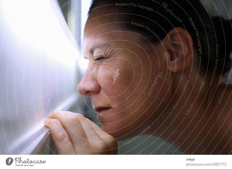 Licht Frau Erwachsene Leben Gesicht 1 Mensch 30-45 Jahre Lichterscheinung Lichtblick Lichtspiel beobachten Blick hell nah Neugier Überwachung blenden Farbfoto
