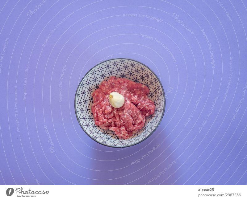 rot Ernährung frisch Fotografie Boden Essen zubereiten Fleisch Zutaten roh Haufen Hamburger ungesund purpur Rindfleisch zerkleinern Portion