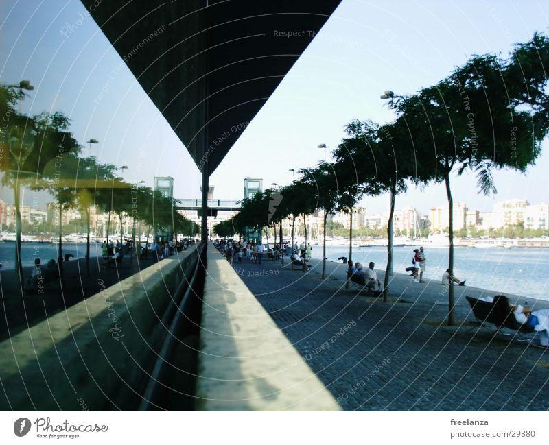 Barcelona Hafen Spanien Ferien & Urlaub & Reisen Spiegel Europa Glas