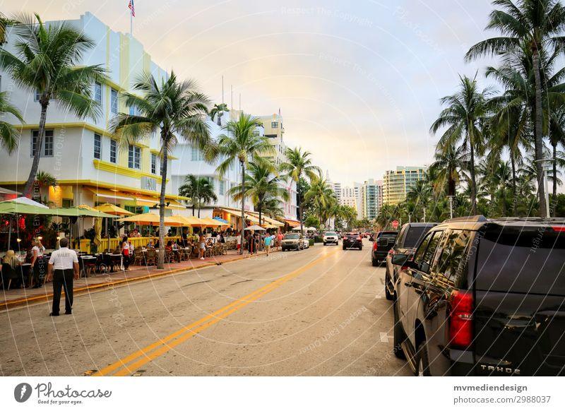 Miami Beach Gebäude Architektur Straße Wärme USA Florida Palme kaufen Restaurant Farbfoto Außenaufnahme