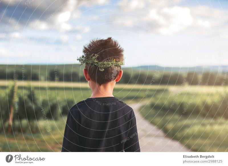 kleiner Junge blickt auf eine Landschaft ruhig wandern Mensch Kind Kleinkind Kindheit Leben Rücken 3-8 Jahre Natur Sonne Schönes Wetter Feld Dorf Blumenkranz