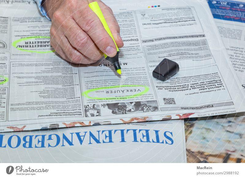 Stellenangebote Arbeit & Erwerbstätigkeit Beruf Arbeitsplatz Business Unternehmen Karriere Arbeitslosigkeit Mensch maskulin Mann Erwachsene Hand 1 45-60 Jahre