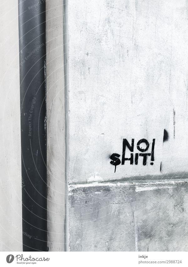 kein Scheiß Menschenleer Mauer Wand Fassade Ecke Regenrohr Beton Schriftzeichen Graffiti grau schwarz Großbuchstabe Englisch Farbfoto Schwarzweißfoto