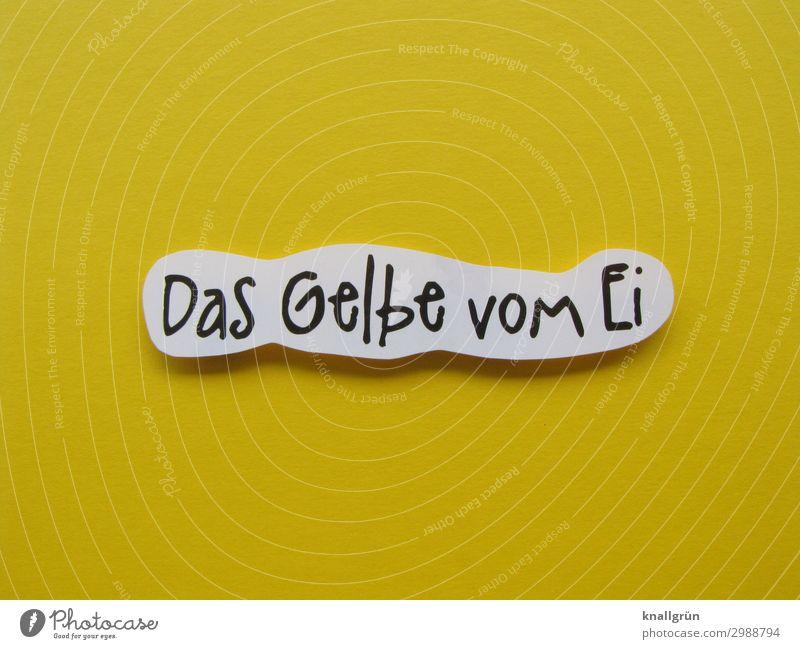 Das Gelbe vom Ei Schriftzeichen Schilder & Markierungen Kommunizieren gelb schwarz weiß Zufriedenheit optimal Ideal perfekt Farbfoto Studioaufnahme Menschenleer