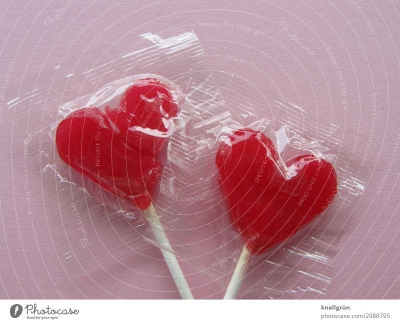 Just the two of us Lebensmittel Süßwaren Dauerlutscher Lollipop Ernährung Herz Liebe süß rosa rot weiß Gefühle Glück Frühlingsgefühle Sympathie Freundschaft