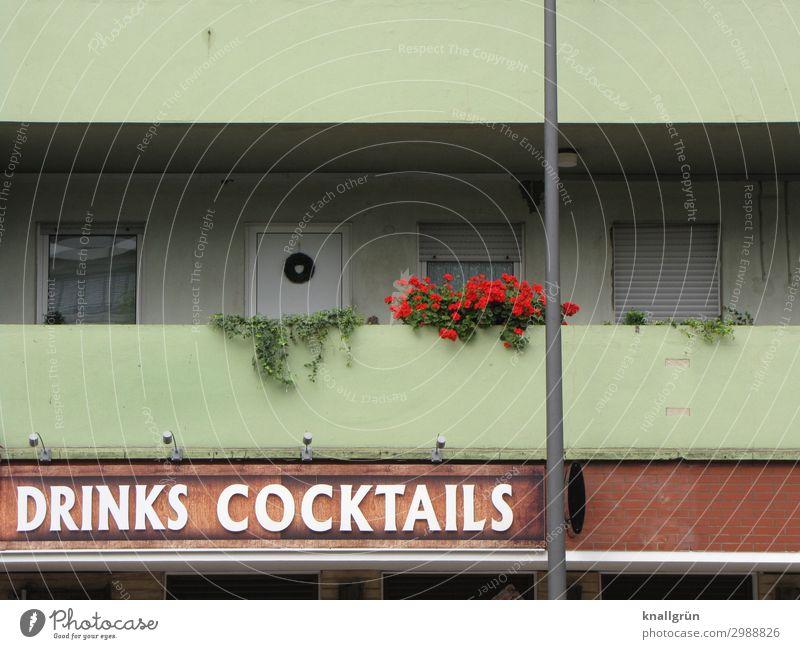 DRINKS COCKTAILS Grünpflanze Pelargonie Efeu Haus Fassade Balkon Blumenkasten Schriftzeichen Schilder & Markierungen Kommunizieren hässlich braun grün rot weiß
