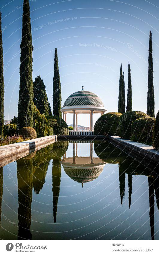 Málagas botanischer Gartenteich und Promenade schön Erholung ruhig Schwimmbad Ferien & Urlaub & Reisen Tourismus Sommer Spiegel Natur Pflanze Himmel Baum Park