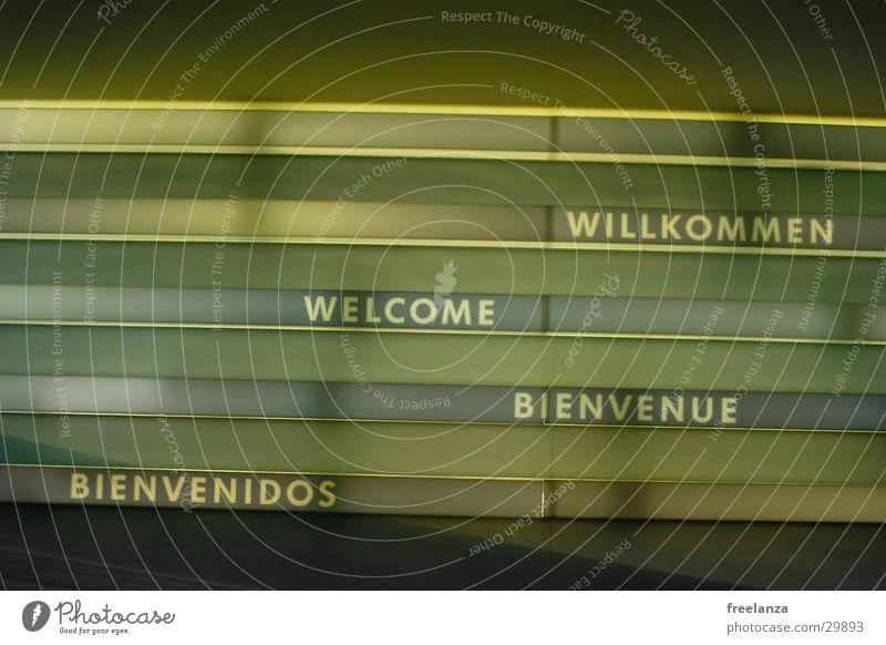 Willkommen grün schwarz gelb Stil Schilder & Markierungen Schriftzeichen Buchstaben Willkommen