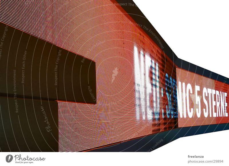 Leuchtreklame rot schwarz hell Schriftzeichen Werbung obskur Messe Leuchtdiode
