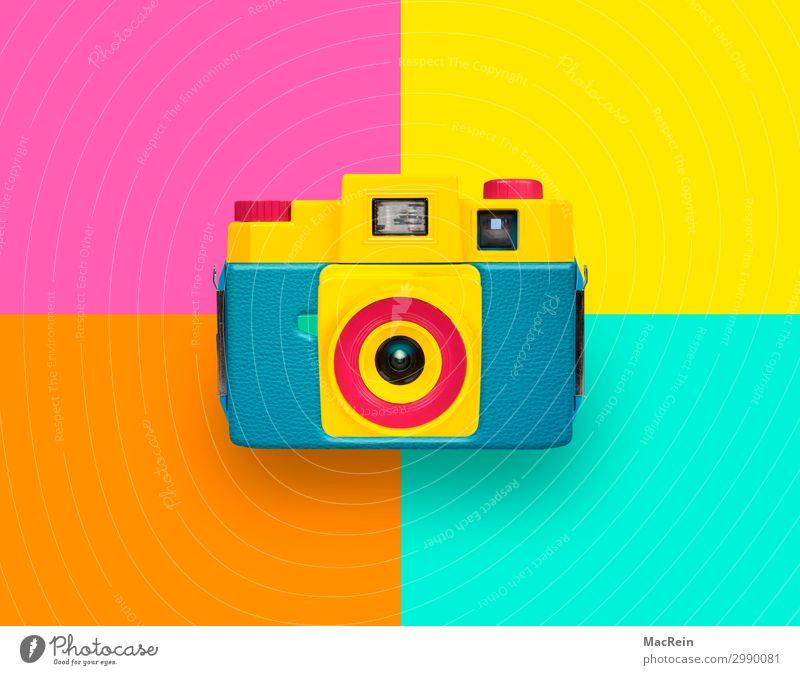 Farbige Kamera blau grün rot gelb Fotokamera Aussehen Rechteck