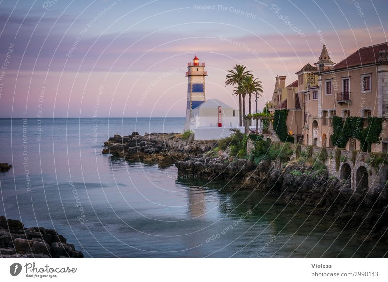Lighthouse Santa Marta Ferien & Urlaub & Reisen Reisefotografie Portugal Sonnenuntergang Atlantik Sommer Schönes Wetter Felsen Küste Bucht Cascais Leuchtturm