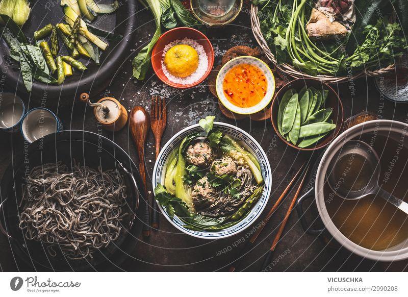 Asiatische Nudelsuppe Zubereitung Lebensmittel Suppe Eintopf Ernährung Asiatische Küche Geschirr Teller Schalen & Schüsseln Topf Pfanne Design Gesunde Ernährung