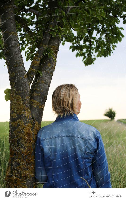 Unterm Kirschbaum Lifestyle Freizeit & Hobby Ausflug Sommer Spaziergang Spazierweg Fußweg feminin Junge Frau Jugendliche Erwachsene Leben Kopf Rücken 1 Mensch