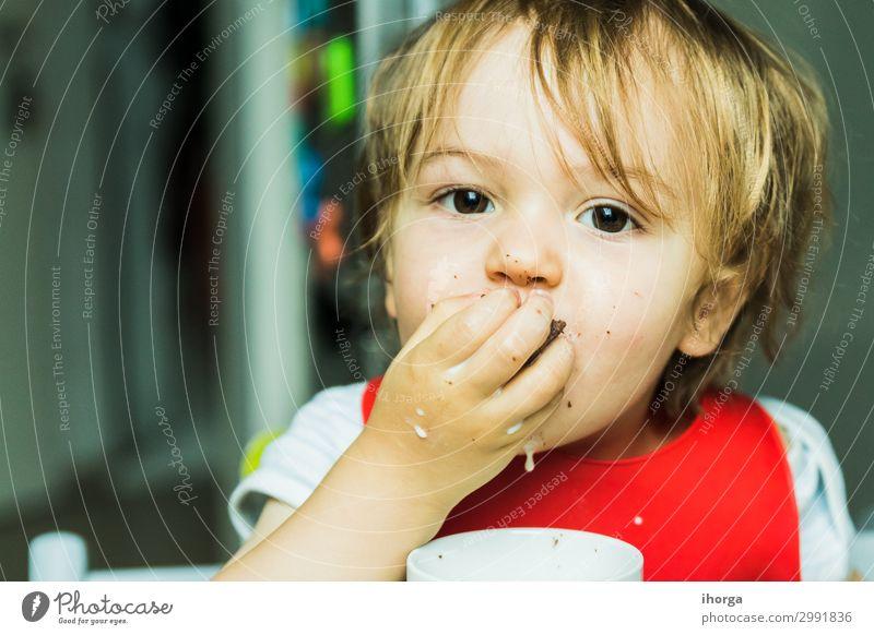 Porträt bezauberndes Kind isst Schokolade Biskuitkuchen Essen Milch Baby Junge Kindheit Gesicht Hand 1 Mensch 1-3 Jahre Kleinkind Lächeln dreckig klein lecker